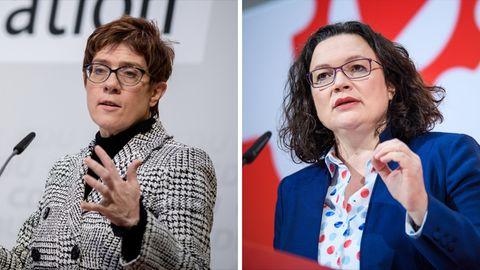 Eine Kombo zeigt links Annegret Kramp-Karrenbauer und rechts Andrea Nahles, jeweils am Rednerpult