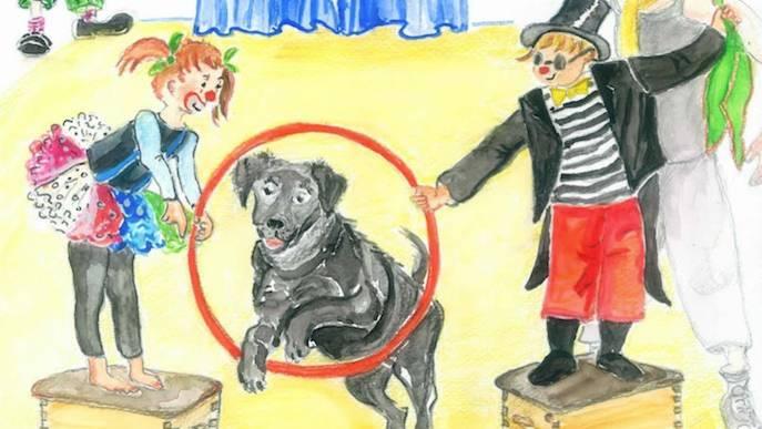 Blindenhund Watson springt durch einen Reifen