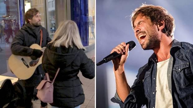 Max Giesinger gibt ein kurzes Spontankonzert in der Hamburger Innenstadt