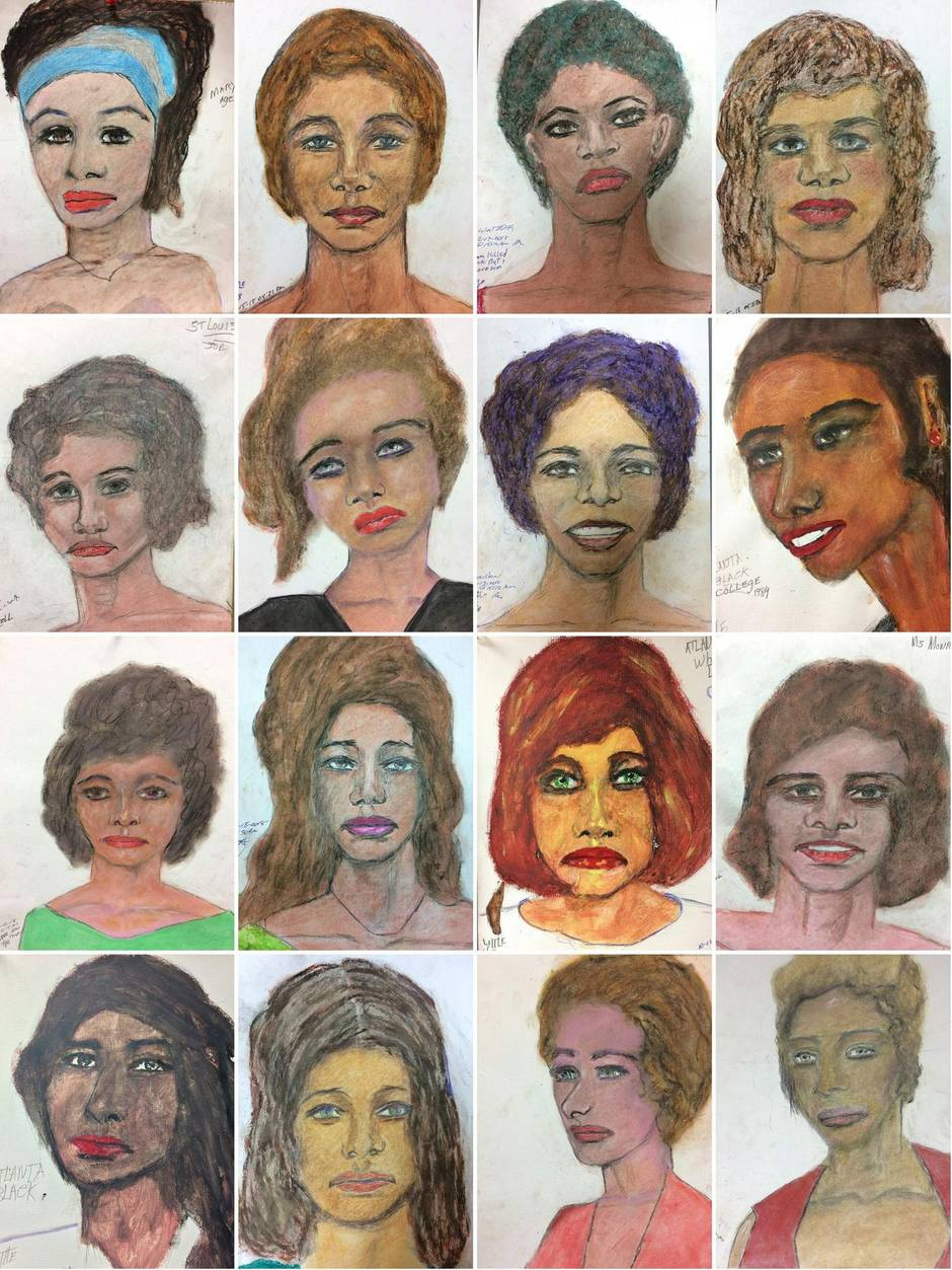 Diese 16 Portraitzeichnungen mutmaßlicher Opfer hat derSerienmörderSamuel L. aus dem Gedächtnis angefertigt