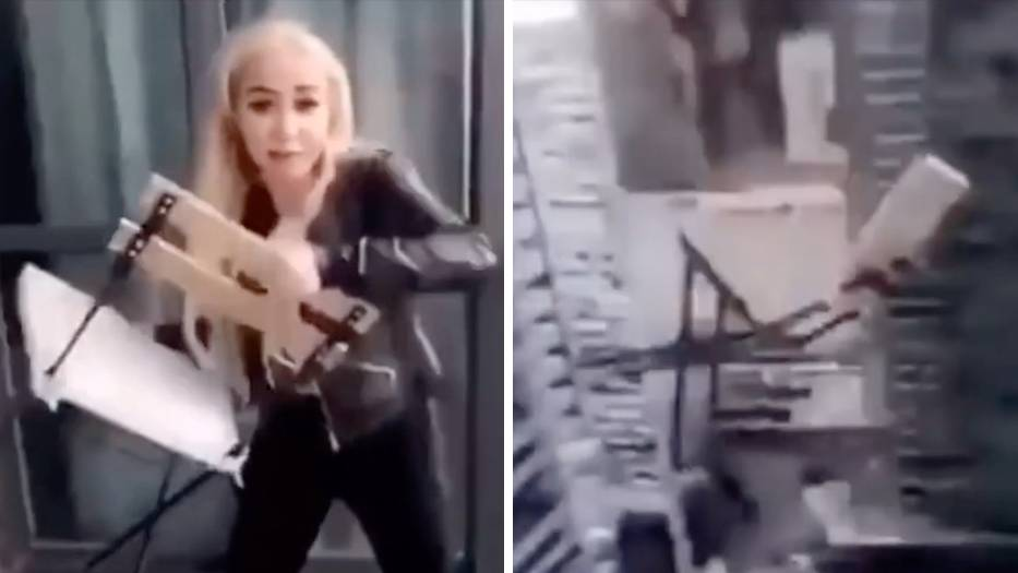 Instagrammerin schmeißt Stuhl aus dem Fenster