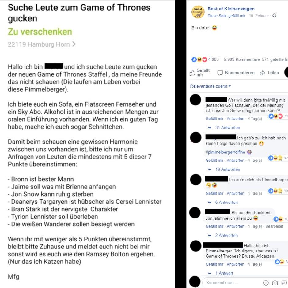 Mann Sucht Via Kleinanzeige Neue Freunde Um Game Of