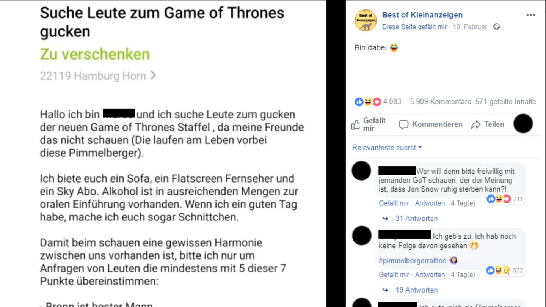 Ebay Kleinanzeigen Game of Thrones Hamburg
