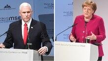 US-Vizepräsident Mike Pence und Bundeskanzlerin Angela Merkel auf der Münchner Sicherheitskonferenz
