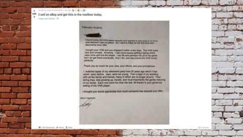 Dankesbrief für VHS-Player, publiziert auf reddit.com