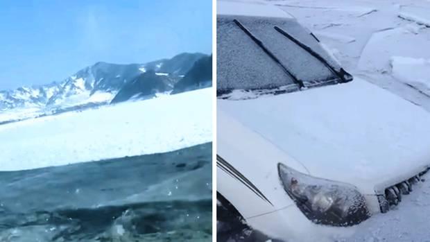 SUV in China bricht ins Eis ein