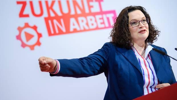 Die SPD-Vorsitzende AndreaNahles darf etwas optimistischer in die Zukunft blicken