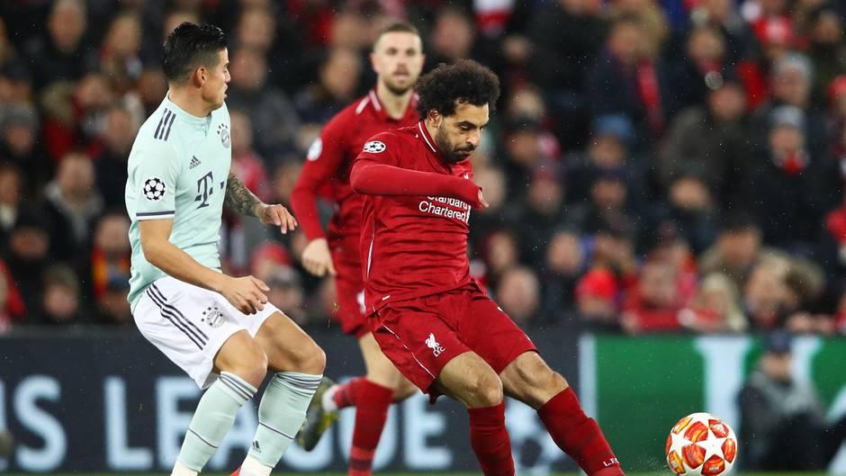 Mo Salah (r.) vom FC Liverpool sah gegen die Bayern-Abwehr schlecht aus