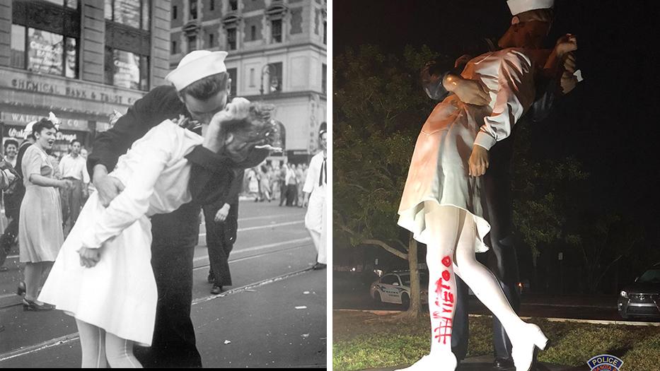 Kuss auf Times Square, beschmierte Statue
