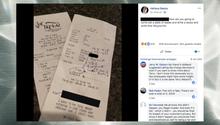 USA: Statt Trinkgeld bekam ein Kellner diese bizarre Notiz