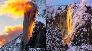 """Yosemite Nationalpark: Aufnahmen von """"brennendem"""" Wasserfall verzaubern nicht nur Naturfans"""