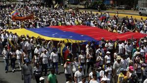 Hier demonstrieren Guaió-Anhänger in Venezuela