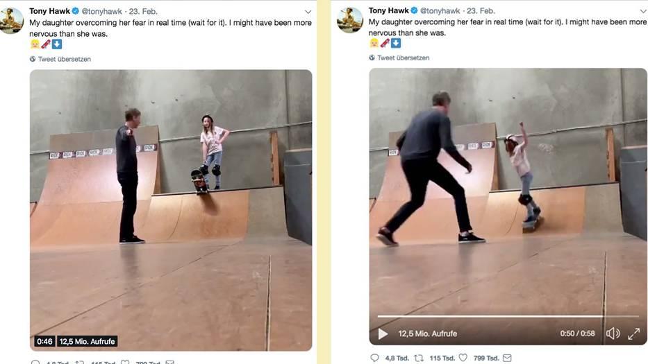 Erster Mal auf der Half Pipe: Tony Hawk bringt seiner Tochter das Skaten bei