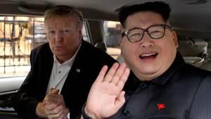 Die beiden Doppelgänger des nordkoreanischen Machthabers Kim Jong Un (r.) und von USDonald Trump im vietnamesischen Hanoi
