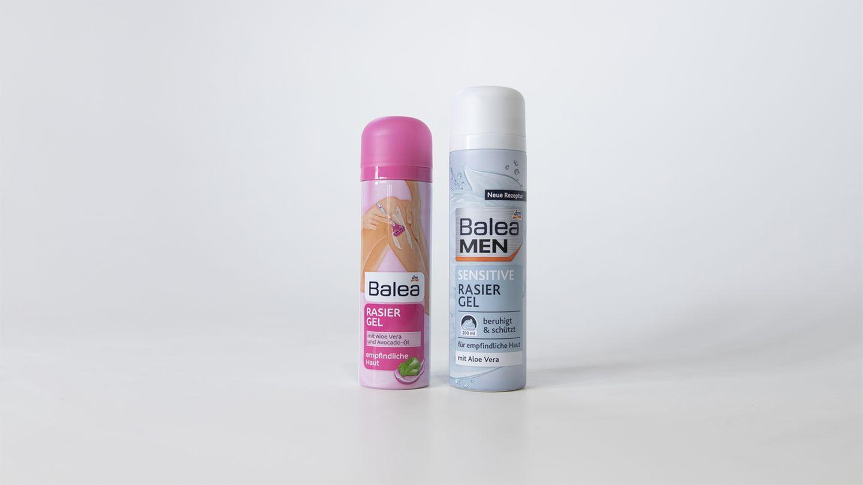 Balea Rasierschaum vs. Balea Men Sensitive Rasierschaum  Viele Inhaltsstoffe sind identisch, die Frauen-Variante enthält weitere pflegende Inhaltsstoffe  Preisaufschlag für Frauen: 76 Prozent
