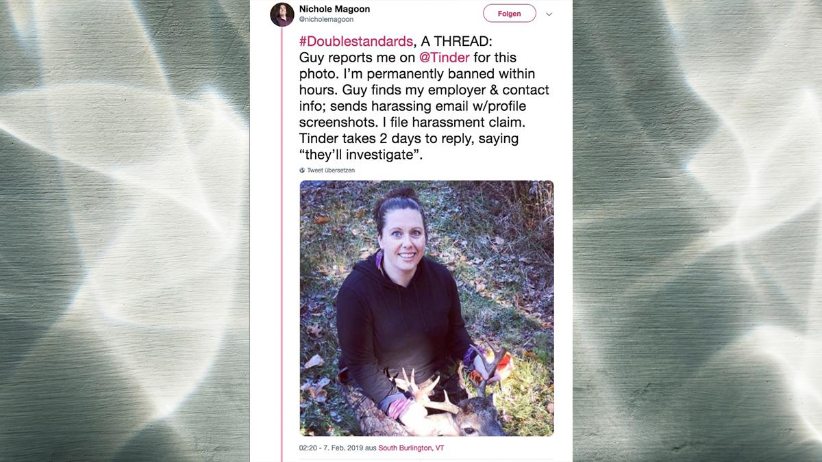 Profilbild mit erlegtem Hirschen: Tinder sperrt Frau wegen Fotos mit totem Tier – wäre sie ein Mann, wäre das anscheinend anders