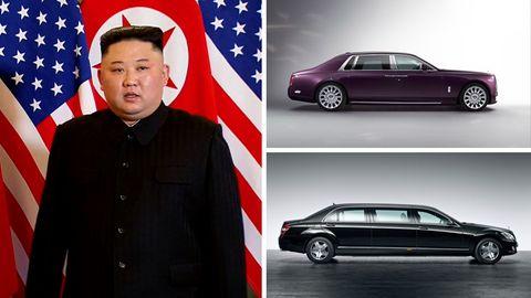 Kim Jong Und un zwei Autos von Mercedes-Benz und Rolls-Royce