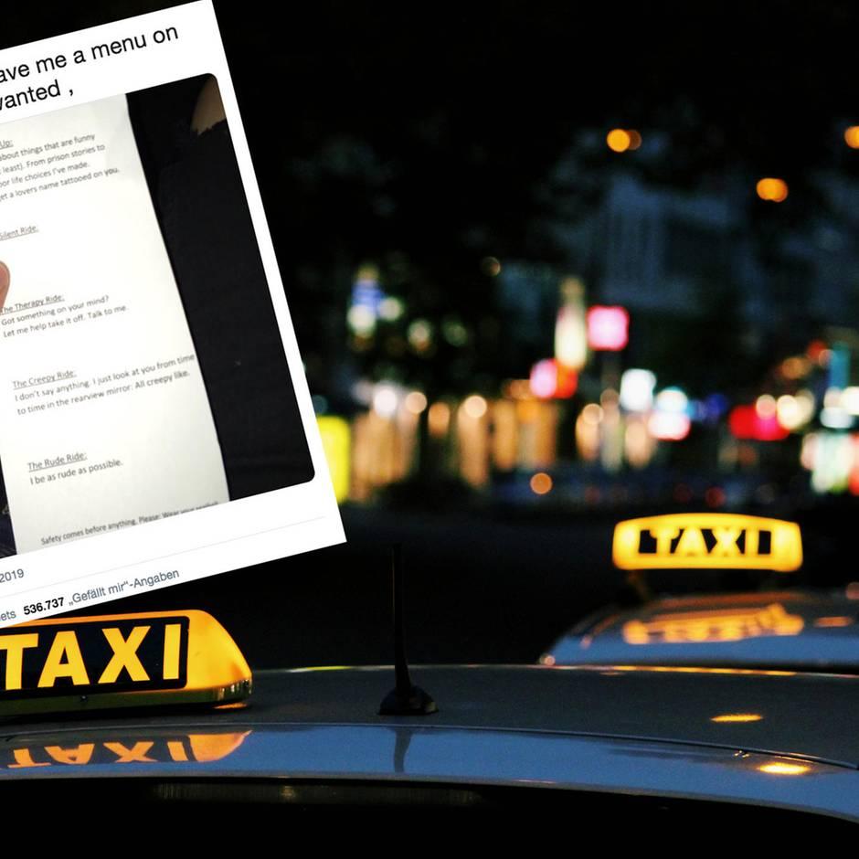 Twitter-Foto: Therapie? Oder lieber Comedy? Taxifahrer bietet Fahrten-Menü an – und geht viral