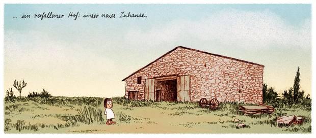 Illustration eines kleinen Mädchens vor einem verfallenen Hof