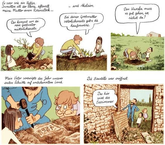 Die Mutter pflanzt einen Rosenstock, Vater und Kinder inspizieren die Ruine
