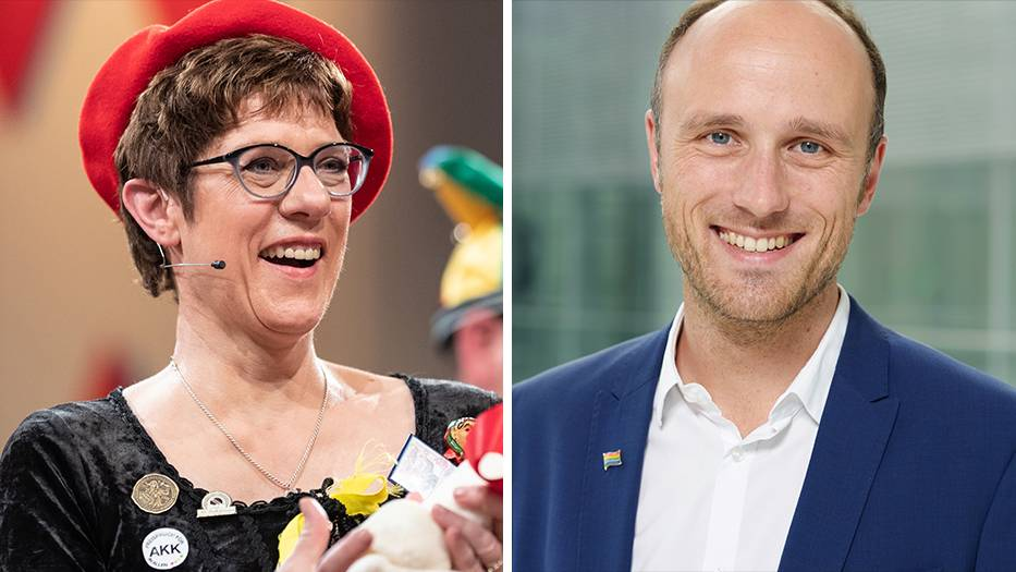 Annegret Kramp-Karrenbauer, CDU, und Sven Lehmann, Grüne