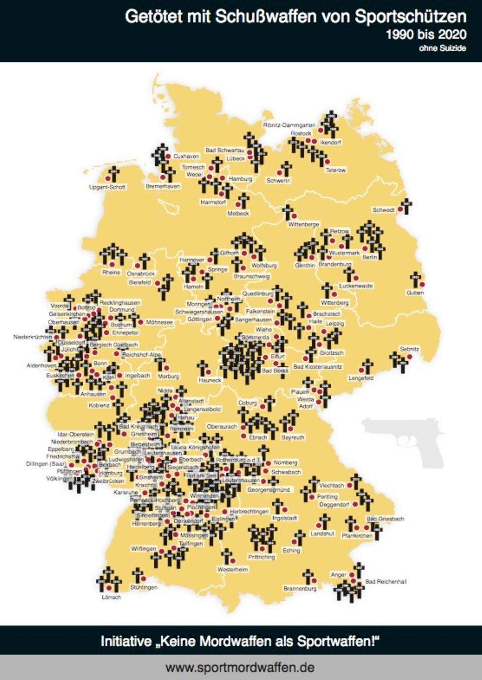 """""""Getötet mit Schusswaffen von Sportschützen""""– Opfer-Landkarte der Sportmordwaffen-Initiative (1990 bis 2018, ohne Suizide)"""