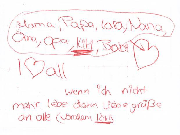 11. März 2009: Abschiedsbrief der Schülerin Victoria B. aus Winnenden
