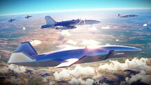 In der Zukunft soll ein Kampfjet von einem Schwarm autonom fliegender Wingmen begleitet werden-.