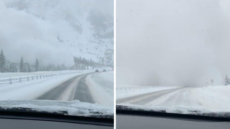 Schneelawine rollt auf Auto zu