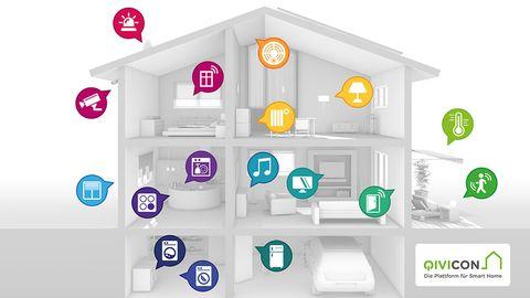Qivicon – Für die Ambitionierten  Mit hohem Marketingdruck rauschte die Telekom vor zwei Jahren in den Smart-Home-Markt. Die Plattform dahinter heißt Qivicon und ist weit offener als man es vielleicht bei der Telekom vermuten würde. Gleich vier der wichtigsten Funkstandards werden unterstützt: Homematic, Homematic IP, ZigBee und DECT ULE. Damit ist die Telekom-Plattform von den hier vorgestellten Systemen die technisch beste Ausgangsbasis, um unkompliziert in die Welt des Smart-Home einzusteigen und später selbst ausgefallene Wünsche nachzurüsten, ohne auf ein anders System umsteigen zu müssen. Die kompatiblen Geräte reichen von der typischen Licht- und Heizungssteuerung bis hin zur Steuerung von Küchengeräten wie Abzugshauben, Herde und Kühlschränken, Multiroom-Unterhaltungselektronik und der kompletten Hausautomatisierung mit Tür- und Rollladensteuerung. Häuslebauer dürften sich besonders über die Auswahl an Unterputzschaltern freuen, mit denen sie ihr Haus sozusagen Subkutan fit für Smart Home machen können.