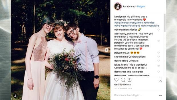 Polyamorie: Dieses Brautpaar hat sich in die Brautjungfer verliebt