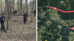 Suchaktion der Polizei im Wald bei Storkow, Karte