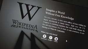 Die Startseite von Wikipedia ist abgeschaltet
