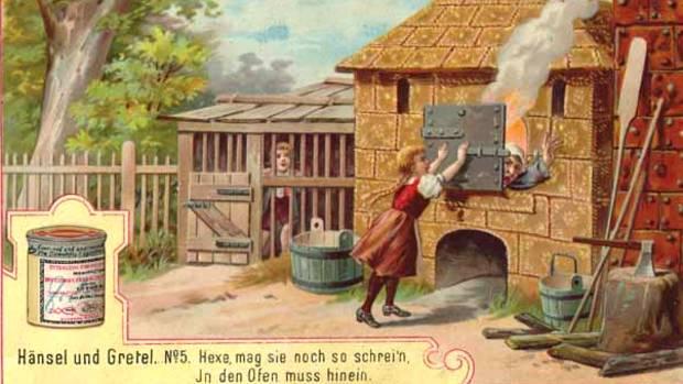"""Liebig's Fleischextrakt wurde auch durch seine Sammelbilder berühmt. Einige davon zeigen Szenen aus """"Hänsel und Gretel"""", einem Märchen der Gebrüder Grimm."""