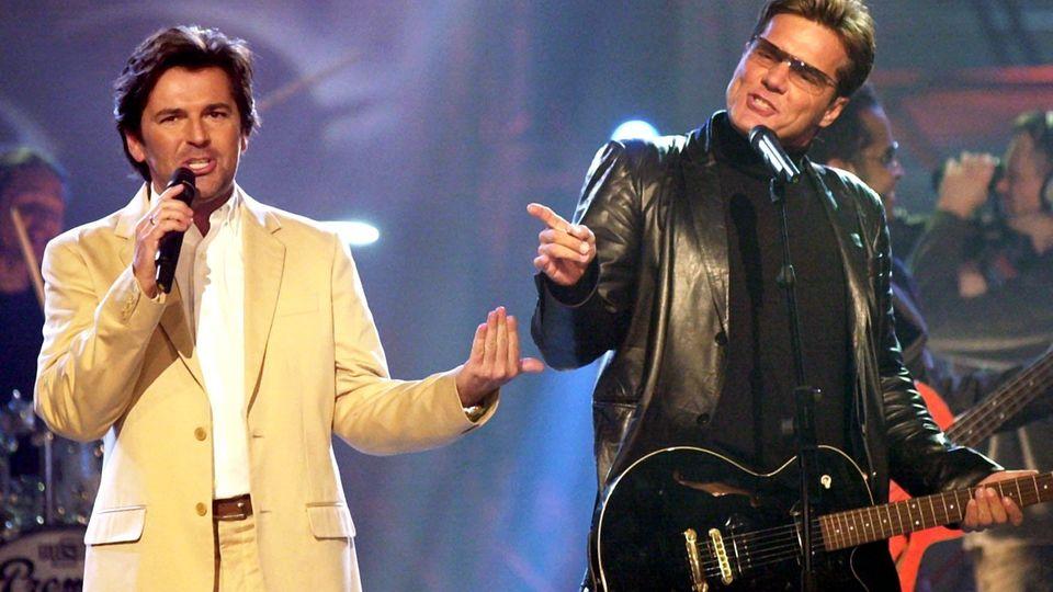 Da standen sie noch gemeinsam auf der Bühne: Thomas Anders und Dieter Bohlen 2002 bei einem Modern-Talking-Konzert in Kiel