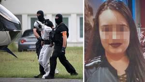 In Wiesbaden wird Ali B. von Polizisten aus dem Justizzentrum zu einem Polizeihubschrauber gebracht