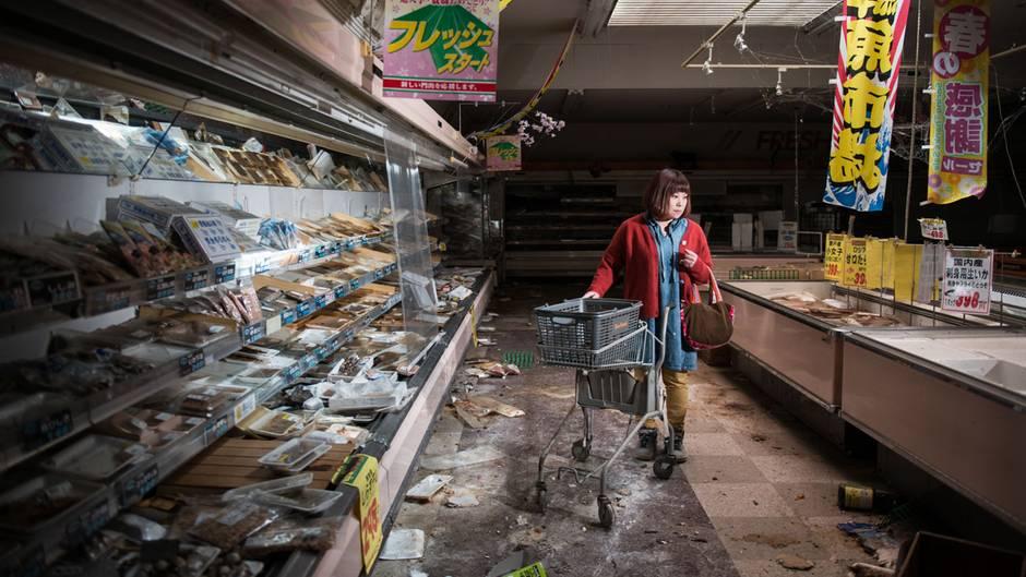 Ein verlassener Supermarkt in der Region Fukushima