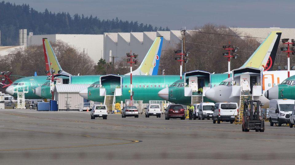 Mehrere Boeing 737 Max 8 werden hier im Boeing-Werk im US-Bundesstaat Washington gefertigt