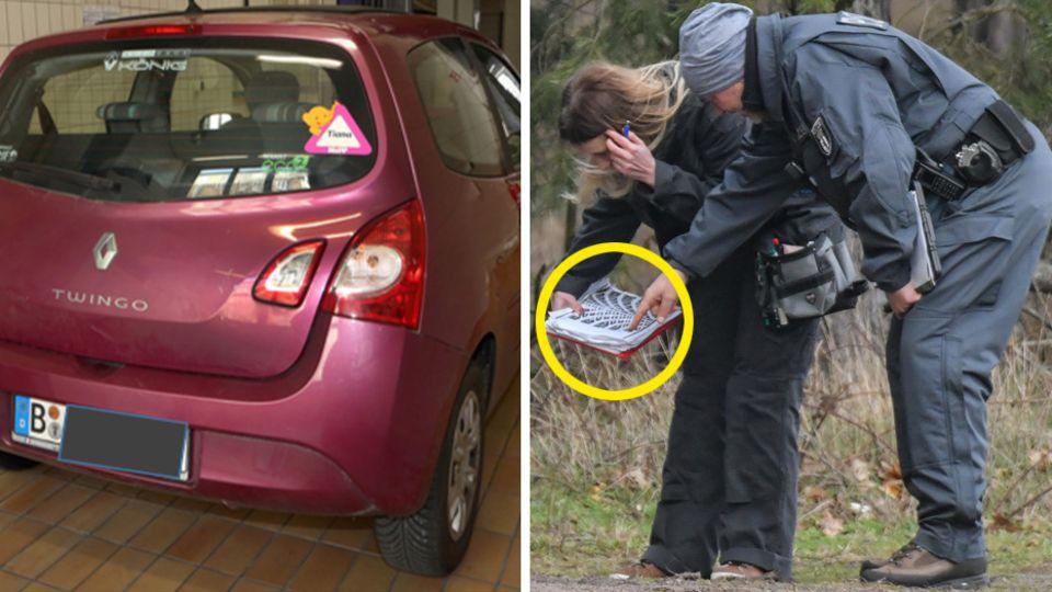 Das Auto des tatverdächtigen Schwagers im Fall Rebecca, Polizisten im Wald