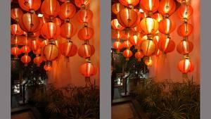 Vergleichsbilder von orangen Lampions