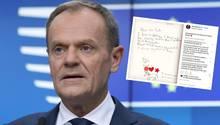 EU-Ratspräsident Donald Tusk hat einen sehr niedlichen Brief zum Brexit erhalten. Auf Instagram hat er ihn auch beantwortet.