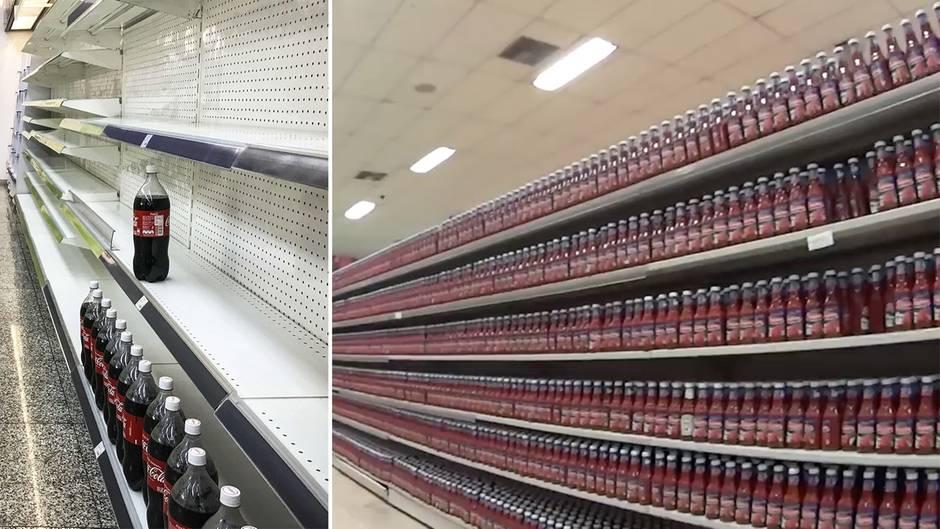 Supermarkt in Venezuela: Augenzeugenvideo zeigt fast nur Ketchup und Cola in den Regalen