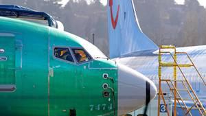 Das Cockpit einer Boeing 737 Max, die sich noch im Werk befindet