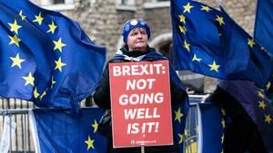 Der Brexit funktioniert nicht wirklich gut, oder? Das meint zumindest eine Demonstrantin in London, die gegen den Austritt ihres Landes aus der EU ist.