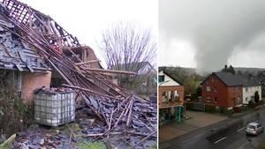 Tornado verwüstet Eifel-Gemeinde Roetgen: Aufräumen in NRW