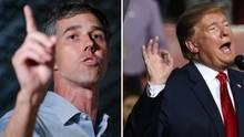 Donald Trump und Beto O'Rourke gestikulieren