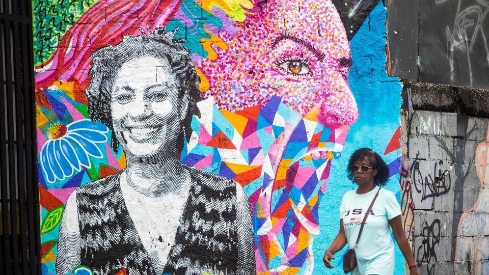 Ihr Gesicht überall in der Stadt, ihr Name in aller Munde: Die schwarze Politikerin Marielle Franco wurde 2018 in Rio ermordet