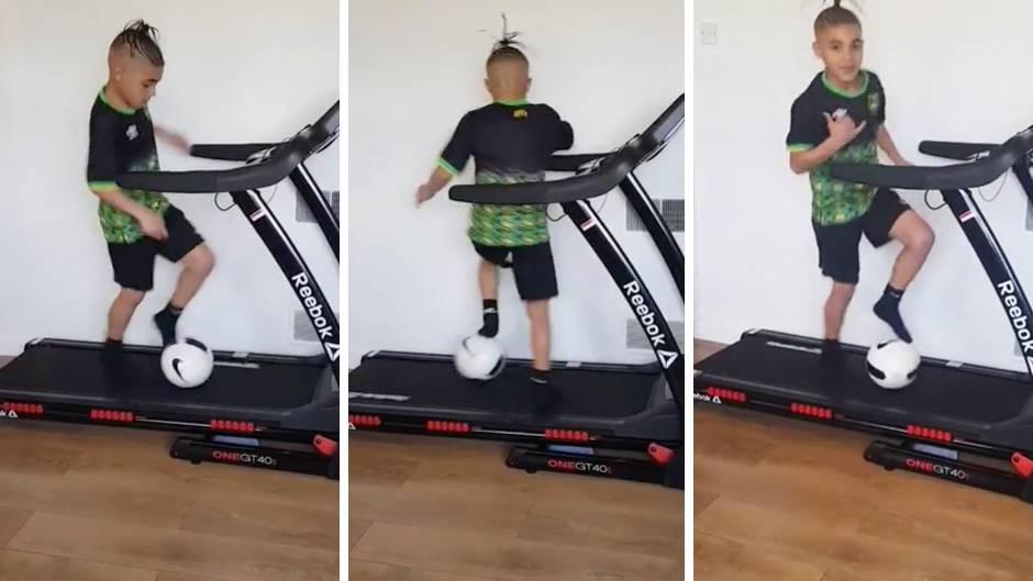 Rasantes Training: Elfjähriger beeindruckt mit erstaunlich flinken Füßen – und das Laufband wird immer schneller