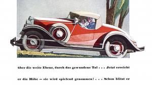 Die Werbung für den Opel Moonlight Roadster aus dem Jahre 1933