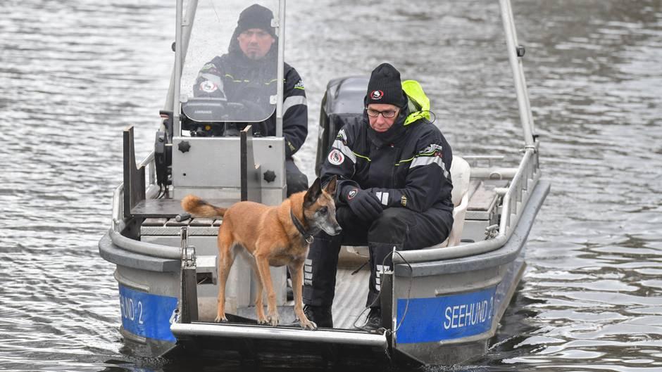Im Bug eines Polizei-Bootes steht Hund und schnüffelt über der Wasseroberfläche